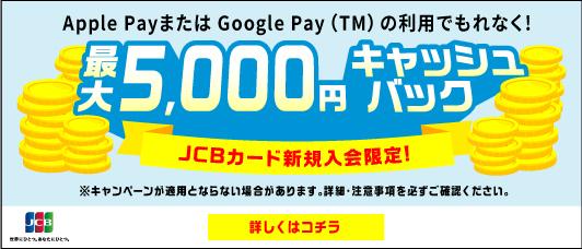 Apple Pay・GooglePayの利用でもれなく最大5000円キャッシュバック